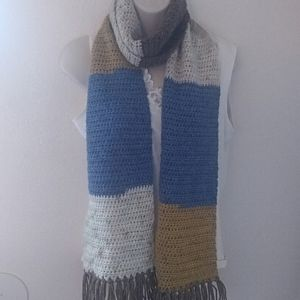Knitted White Blue Yellow Long Scarf Fringe